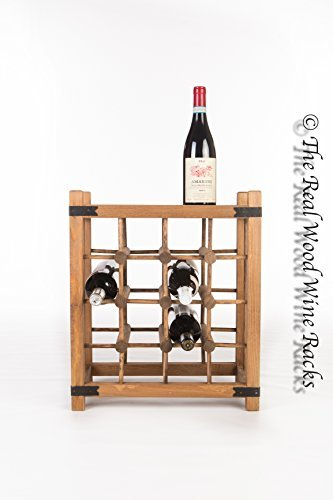 New Real Wooden Rustic Wine Rack Cabinet 16 Bottles With Table Top Kitchen  Bar By The Real Wood Wine Racks