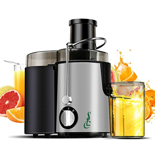 SLC Juice Extractor Wide Mouth Centrifugal Juicer Machine 400W Stainless Steel Dual Speed Setting Fruit And Vegetable Juicer With Juice Jug And Cleaning Brush