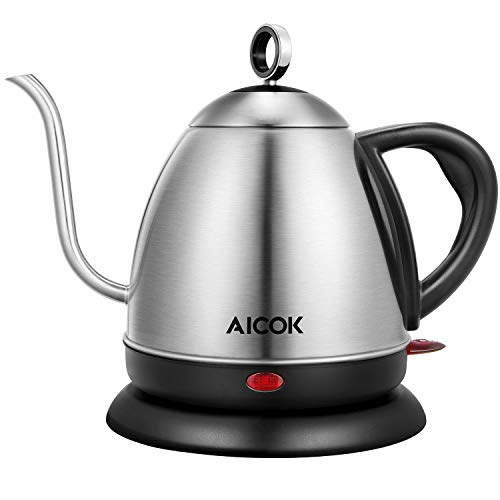 Electirc Kettle Aicok Electric Goosenneck Kettle For Pour Over Kettle Coffee And Tea Fast Heating Stainless Steel Water Kettle With Boil Dry Protection Automatic Shutoff 1L
